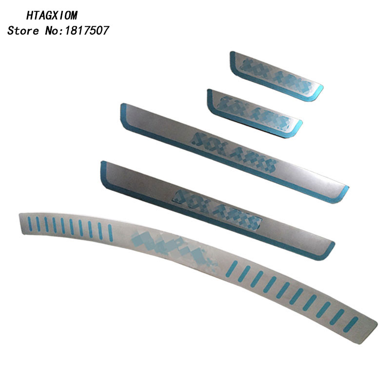 for New Solaris 2017 2018 Door Sill Strip And Rearguards Stainless Decoraton Car Styling Sticker Auto