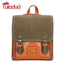 Vintage Leather Women Backpack Preppy Style Backpacks Women School Bag College Backpack Female Shoulder Bags Mochila Feminina new vintage black and brown color mens leather backpack preppy style student school backpacks for college stylish mochilas male