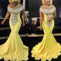 Nigerian Pageant Gowns Yellow vestido de festa longo Evening Dresses Crystals robe de soiree Beaded Gorgeous Evening Dress