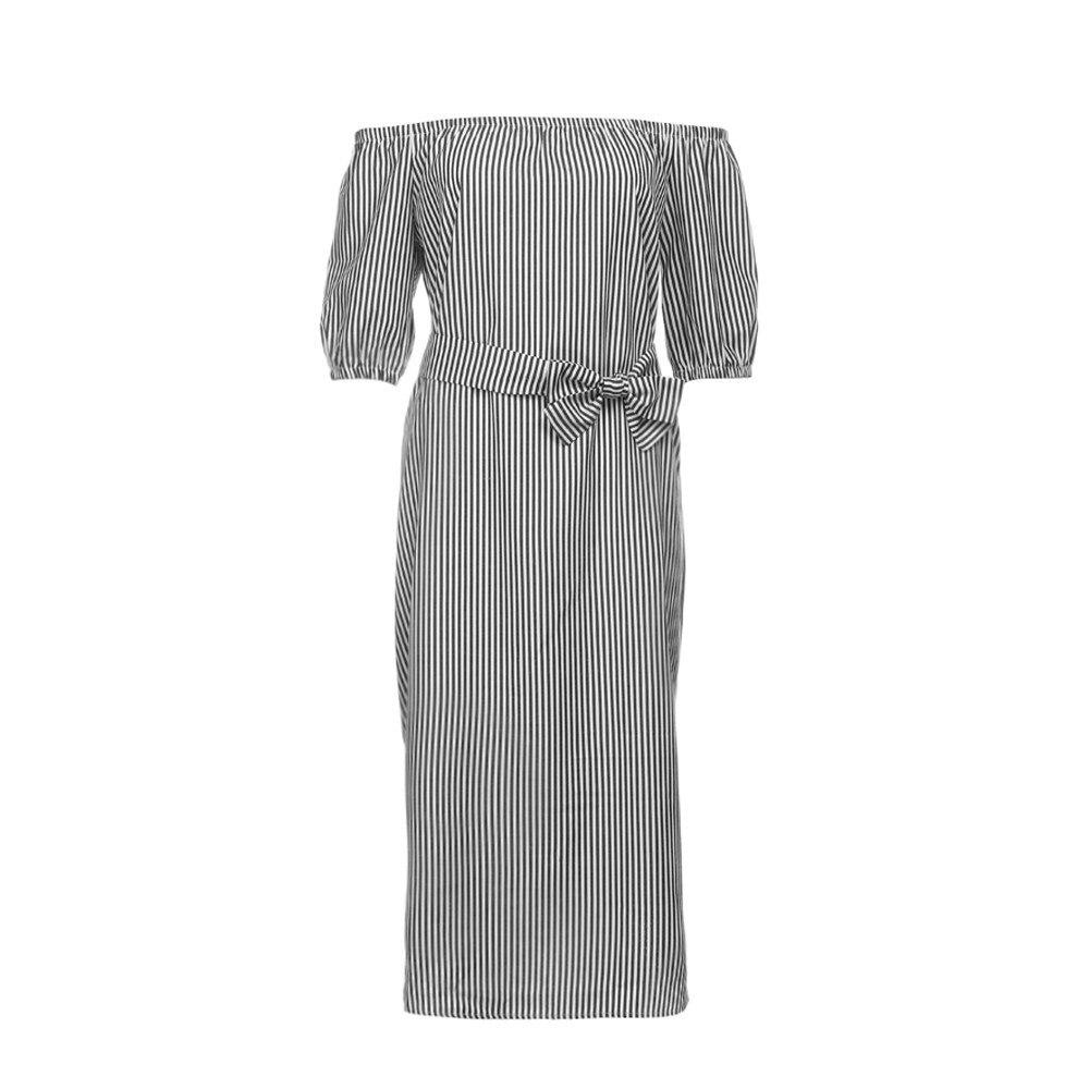 S M L XL XXL Plus Size Women Bardot Lantern Sleeve Self Tie Vertical Striped Dress Party Summer Beach Dress Women 2018 A20