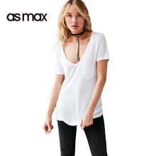 asmax 2017 Casual Solid 2 Color Basic T-shirt Women Summer Sexy Deep V-neck Short Sleeve Top Tee Pocket Brief Chic T-shirts