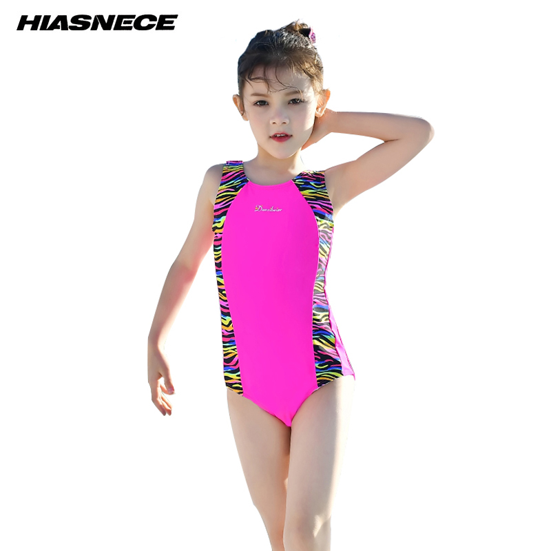 Swimwear Girls One Piece Sport Swimming Suit Professional Training Competition Swimwear 2018 New Kid's Beach Bathing Suits 2 12Y