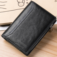 WILLIAMPOLO Fashion Vegetable tanned Men's Genuine Leather Wallet Cards Phone Money Holder Zipper Cowhide Short Business