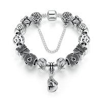 BK Silver Color Safety Chain Friendship Bracelets With Heart Heart Pendant Butterfly Beads Bracelets Jewelry