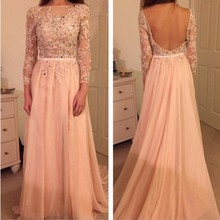 Sexy Whole Backless Long Sleeved Evening Prom Dress A Line Chiffon Lace Vestidos De Formatura Applique Beaded Women Party Gowns