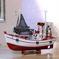 Solid Wood Fishing Boat Model Handmade Nautical Ship Craft Ornament Accessories Furnishing For Home Decoration And