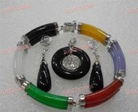 Wholesale price 16new ^^^^Multicolor stone Link Bracelet Black stone Lucky Pendant Necklace Earring set