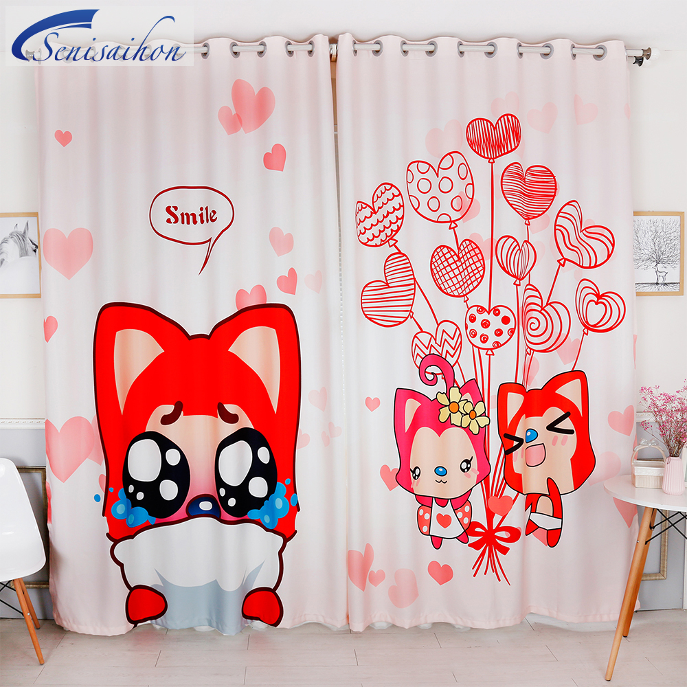 New Modern 3D Blackout Curtains Cartoon Red Hans Pattern Velvet Fabric  Thickened Girl Bedroom Tulle Curtains For Living Room