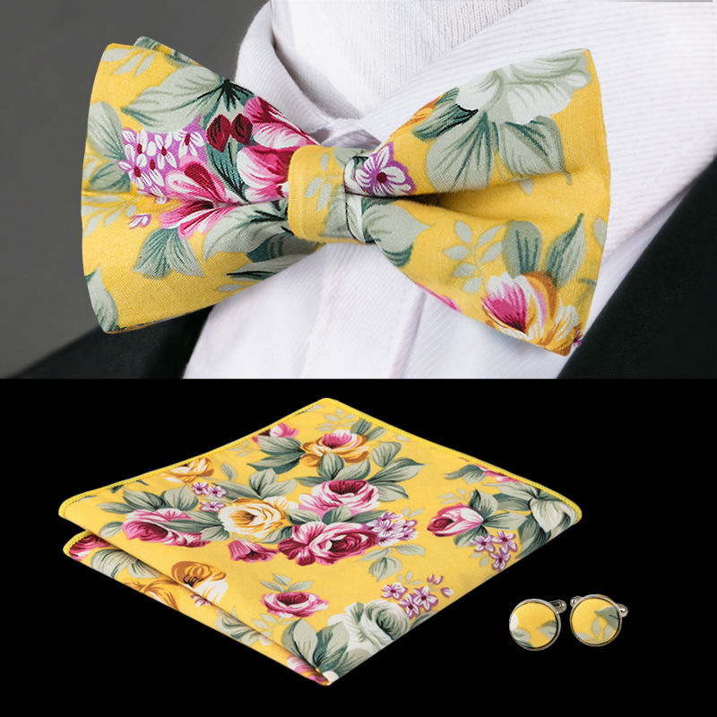 Bow Tie Colorful Fall Leaves Adjustable Bowtie for Wedding Party