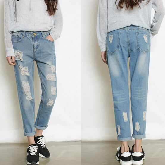3236ff4422d Woman Girl Baggy Ripped BF Style Denim Jeans Blue Color size W 26 W  31Summer Style-in Jeans from Women s Clothing on Aliexpress.com