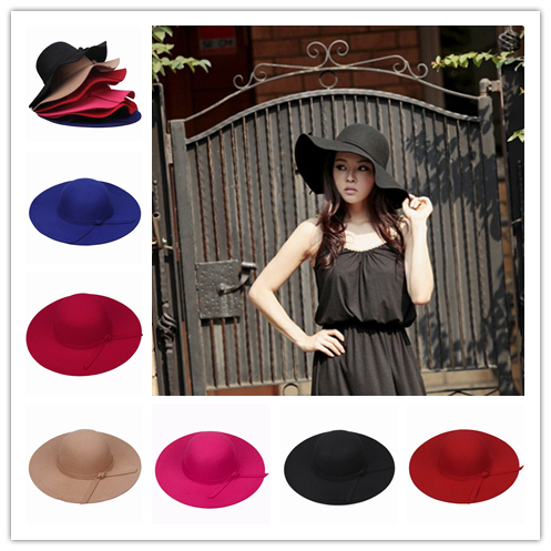 5cb7a866ea4 Hot Sale Woman Vintage Soft Top Cap Wide Brim Hats Wool Felt Bowler Fedora  Hat Tea Party Spring Sun Hats Caps Free Shipping