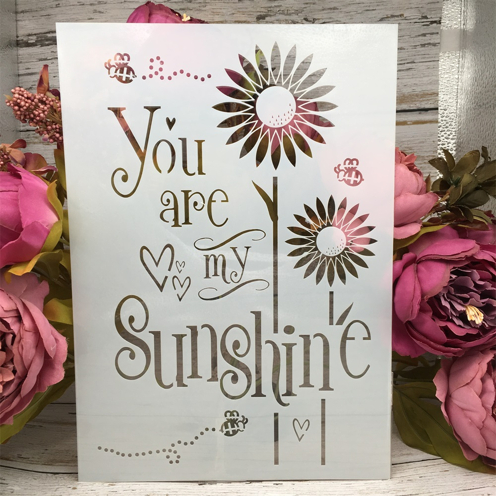 A4 29cm Sunflower Words DIY Layering Stencils Wall Painting Scrapbook Coloring Embossing Album Decorative Paper Card Template