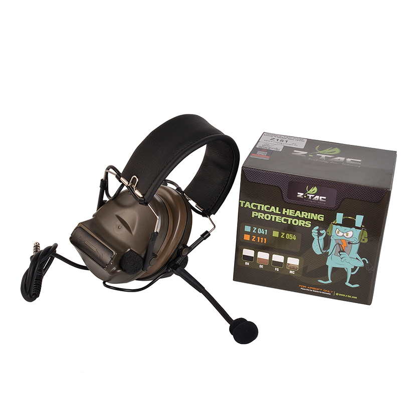 Z-Tac Tactical Headphones Peltor Comtac II No Noise Canceling Airsoft Communication Military Tactical Headset For Walkie-talkie-5