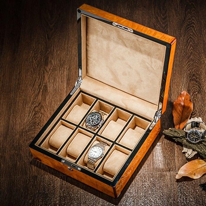 Caixas de Armazenamento Mostrador do Relógio de Madeira com Bloqueio para Mulheres Novas de Presente de Madeira Caixa de 0115 Alta Assistir Case Men Mecânica w 2019 Luz