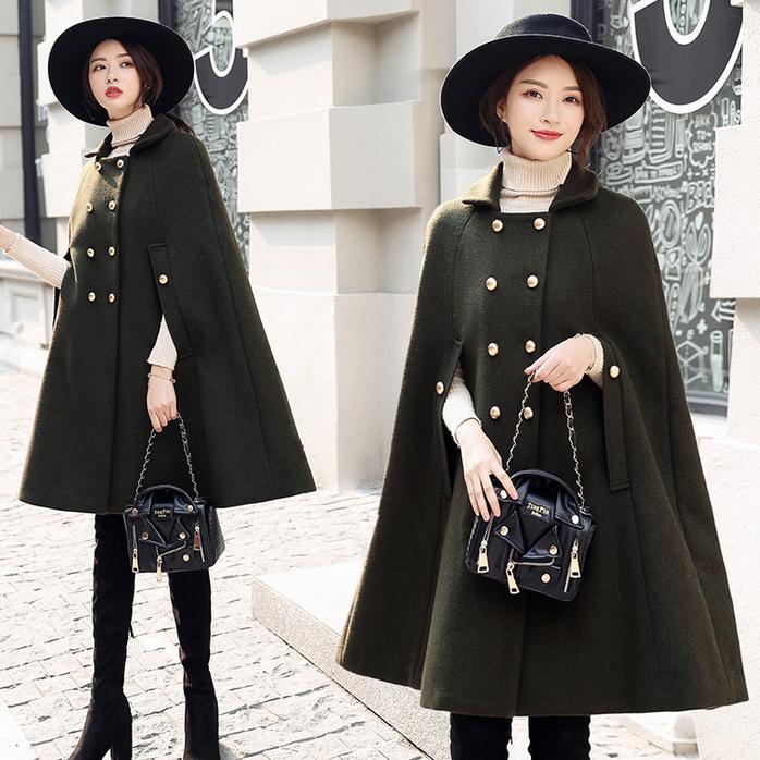 Green Manteau De Nouvelle Vêtements Dame Boutonnage Double Hiver À Laine Manteaux Pour Femmes Cape Mode Travail Bureau army Les 2018 Black dIzR8wqxI