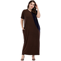Plus Size Nightgown Long Short Seeve Strip Sleepwear Dress Nightgowns Big Size Nightdress Casual Home Dress with Pocket M 4XL