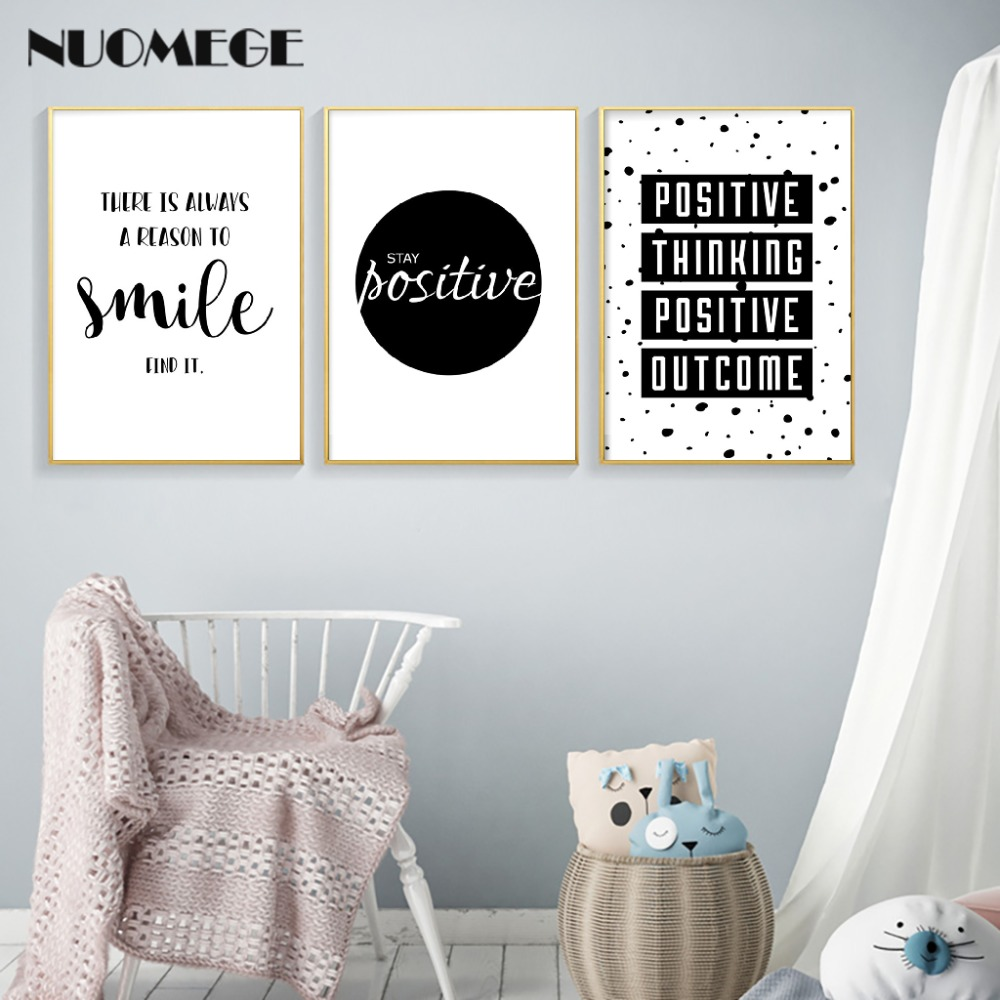 Us 2 99 40 Off English Inspirational Quotes Smile Poster Prints Black White Wall Art Canvas Painting Simple Style Decorative Picture Home Decor In