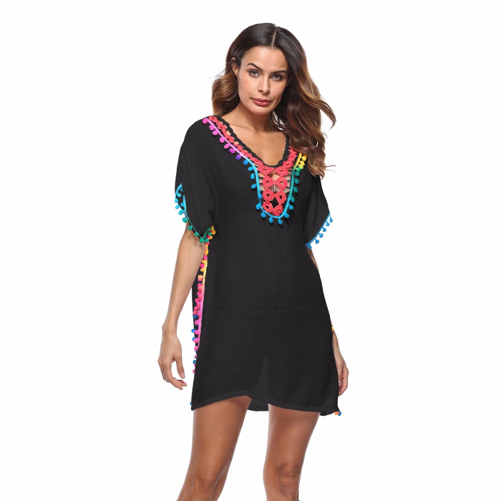 Maternity Women Loose Cover-Ups Tassel See-Through Crochet Tunic Beach Cover Up Swimwear Summer Bikini Cover Up Swim Beach Dress