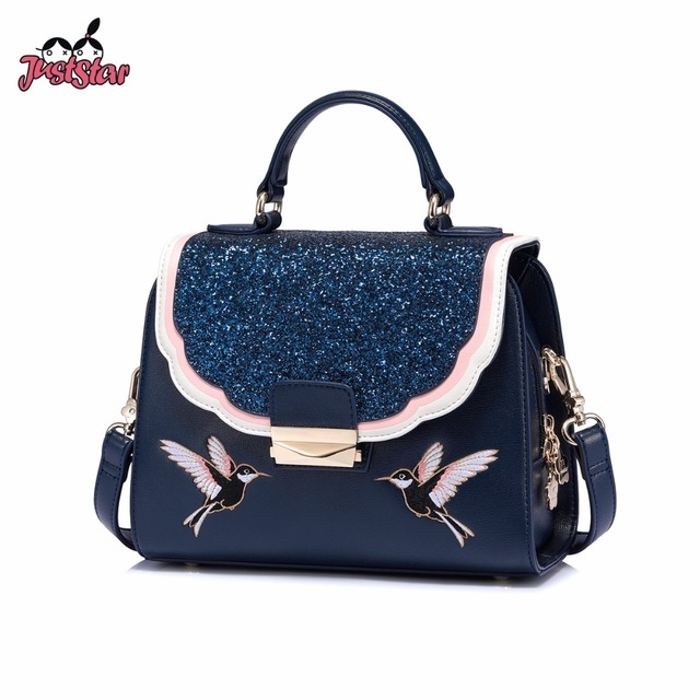 Just Star Brand Women S Leather Handbags Las Fashion Embroidery Bird Shoulder Tote Purse Female Panelled Messenger