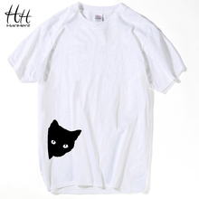 HanHent 2017 Spring Summer New Arrival Men T-shirt Fashion Anime Black Cat Top Tees Loose Style O-neck Swag Short Sleeve T shirt