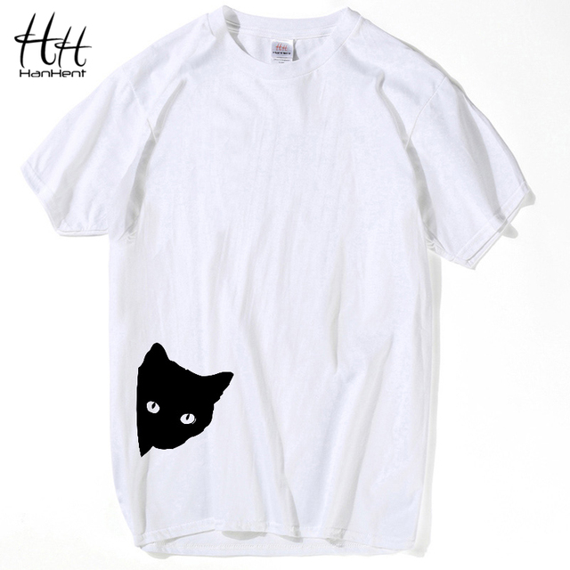 White T-Shirt Black Cat