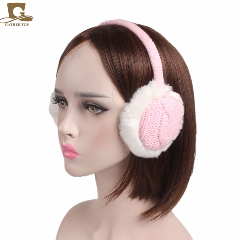 Grils cable Knit Warm EarMuffs Winter Outdoor Soft Faux Plush Ear warmer christmas gift for both kids and adult