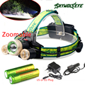 Zoom  9000Lm Led lighting Head Lamp T6+2R5 LED Headlamp Headlight Camping Fishing Light +2*18650 battery+Car EU/US/AUcharger