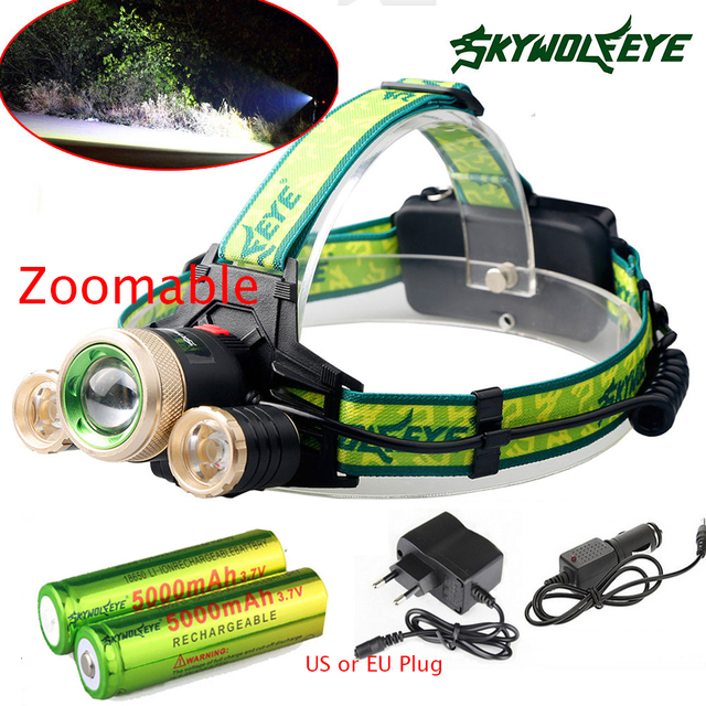Zoom  9000Lm Led lighting Head Lamp T6+2R5 LED Headlamp Headlight Camping Fishing Light +2*18650 battery+Car EU/US/AUcharger