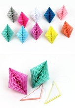 100pcs Mixed Color 10cm  Tissue Paper Diamond Honeycomb Geometry Ball for Wedding Birthday Anniversary Decorations
