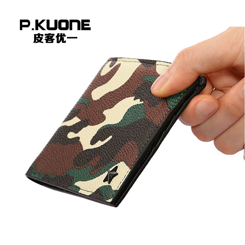 P.KUONE 2018 Design Small Wallet PU Leather Camouflage Purse Fashion Men Credit Card Holder Famous Luxury Brand Clamp For Money p kuone business men purse famous luxury brand coin credit card holder male travel long wallet passport cover leather money bag