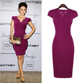2016 Women Summer Purple Deep V-neck Elastic Dress Office Lady Business Meeting Kleider Prom Party Sexy Elegant Vestido Ukraine