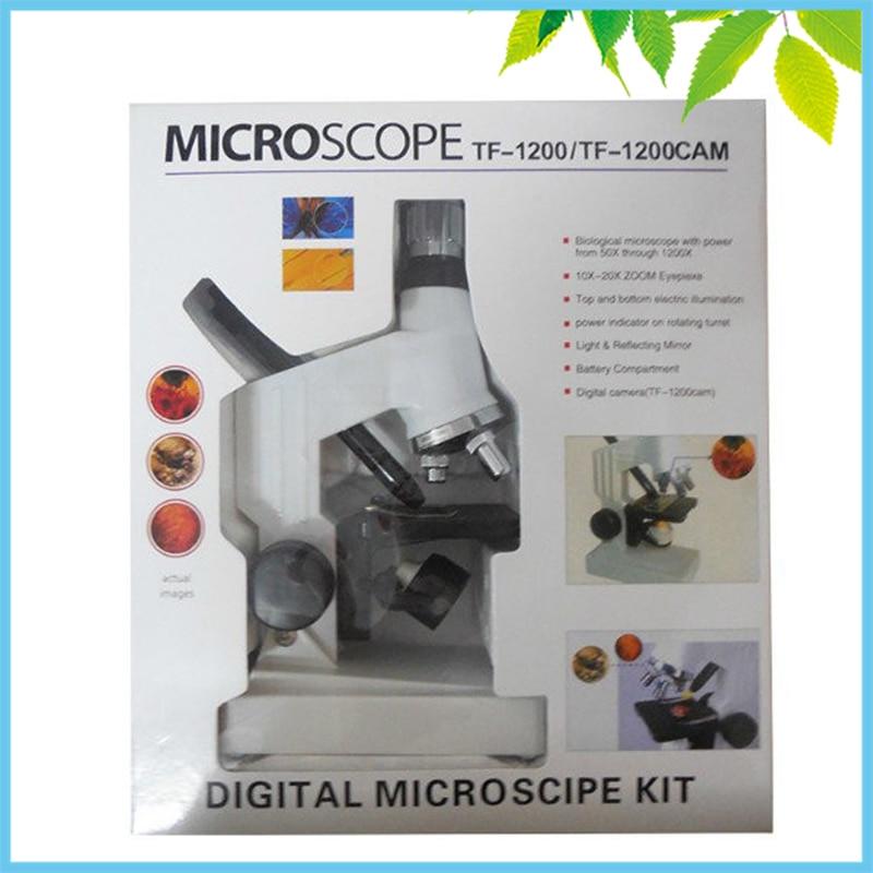 Plastique 1200X Haut Bas Éclairage Microscope Biologique Monoculaire Enfants Microscope Jouet pour Les Enfants à Apprendre La Science