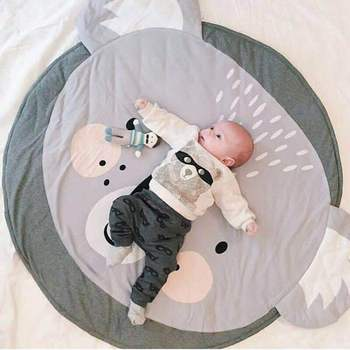 90CM Baby Play Mats Carpet Kids Room Rabbit Lion Animal Soft Cotton Crawling Mats Round Floor Rug Playmats for Baby Gym Mat ins thick round baby blanket play game mats pom pom crawling rug children toy mat carpet kids room decor photography props 90cm