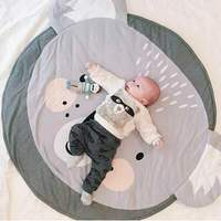 90CM Baby Play Mats Carpet Kids Room Rabbit Lion Animal Soft Cotton Crawling Mats Round Floor Rug Playmats for Baby Gym Mat