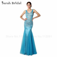 Sexy Mermaid Prom Dresses With Luxury Crystal Open Back Evening Gowns Blue Tulle Vestidos De Fiesta