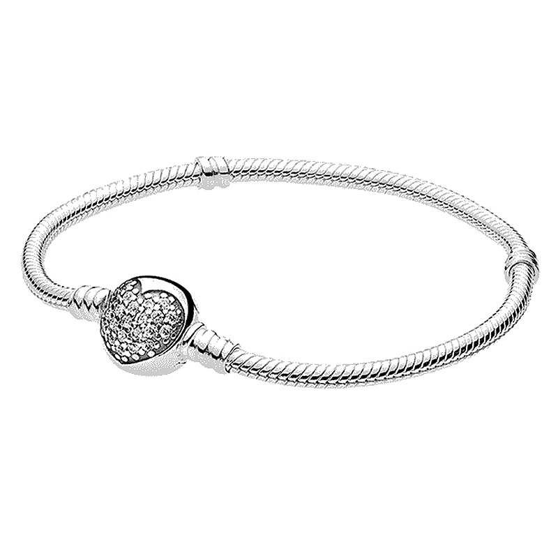 Authenetic 925 Sterling Silver Bracelet Crystal Love Heart Clasp Snake Chain Bracelets Bangle Fit Bead Charm DIY Pandora Jewelry 925 sterling silver pandora bangle poetic blooms clasp snake chain bracelet bangle fit women bead charm diy europe jewelry