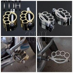 Image 1 - Pegador de pé para motociclista, peça cromada para motociclista, montagem para harley café racer chopper scrambler, 1 par