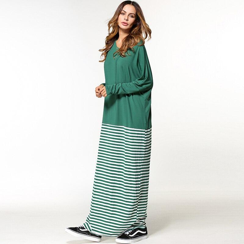 96a84059b0e Babalet Womens  Modest Muslim Islamic Clothing Loose O Neck Full Length  Stripe Long Sleeve Saudi Arabia Dubai Abaya Maxi Dress-in Islamic Clothing  from ...