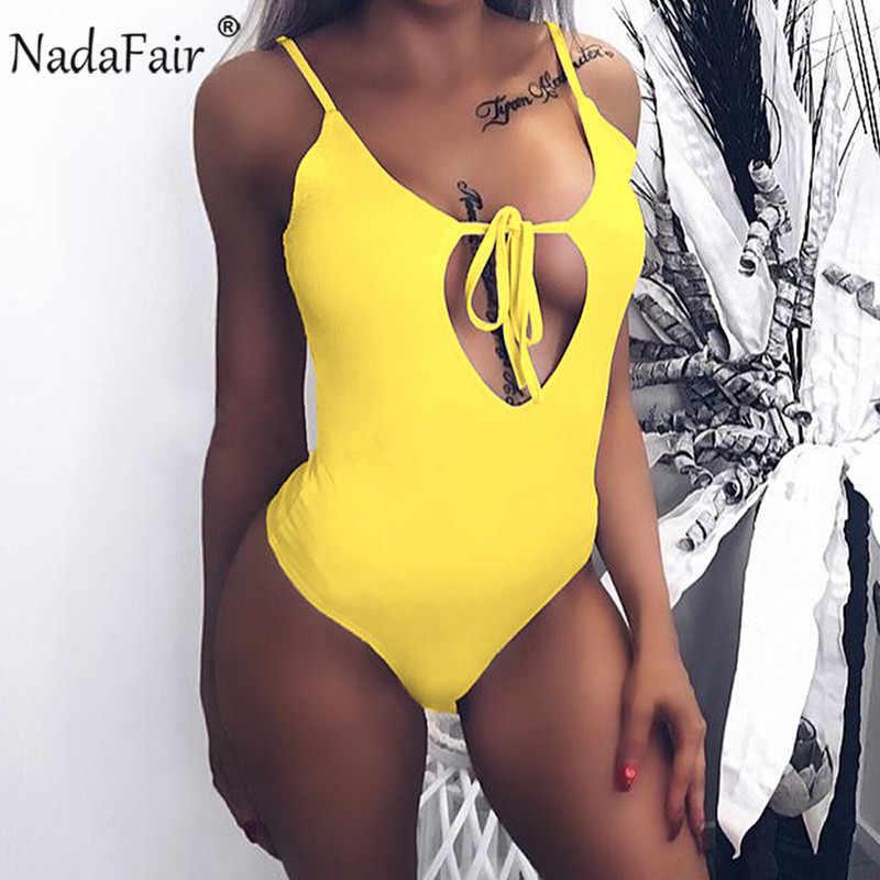 Nadafair летние сексуальные комбинезоны женские спагетти ремень бандажная повязка сексуальные топы женские купальники