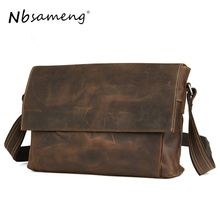 NBSAMENG Men Genuine Leather Messenger Bags Man Vintage Shoulder Bag Business Tote Briefcases Cow Crazy Horse Leather Handbag