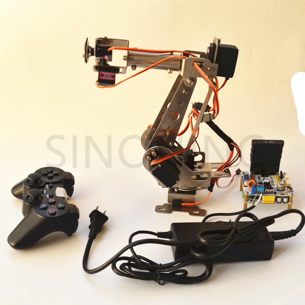 arduino remote control PS2 stainless steel robotic arm 6 DOF robot 4 dof wood robotic arm sg90 servo for arduino raspberry pie snam1500