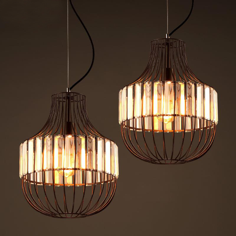 retro industrial crystal iron cage pendant light personalized coffee bar living room restaurant hanging light american country iron cage pendant lamp coffee shop industrial retro bar dining room living room chain pendant light za81017
