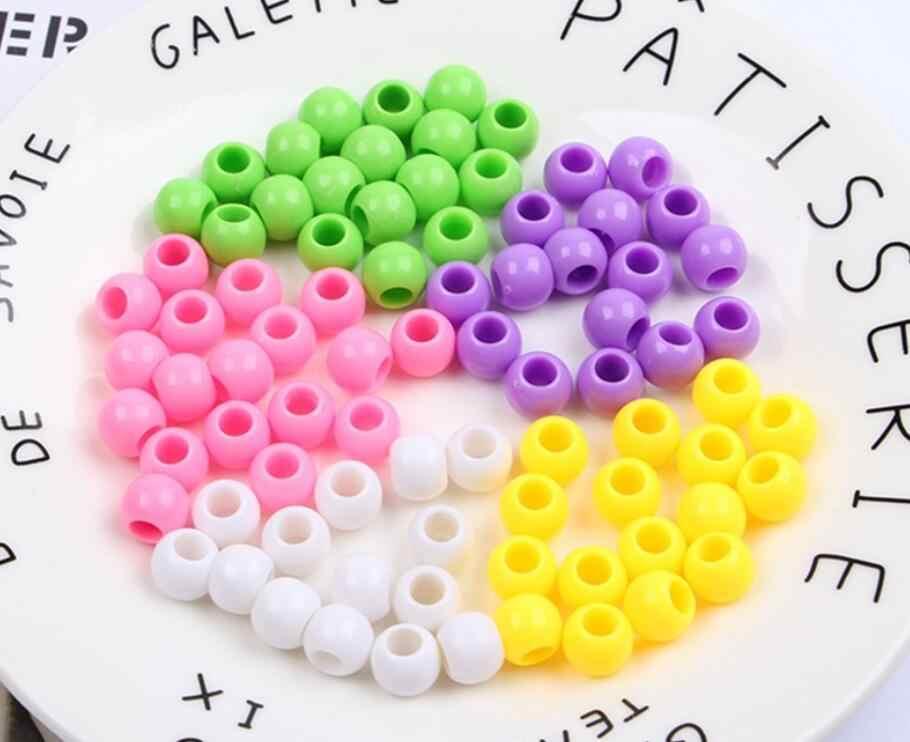 Moda akrilik yuvarlak büyük delik gevşek diy boncuk takı bulguları renkli akrilik abaküs boncuk çocuk hediye için 10mm y1047