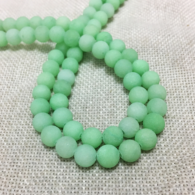 Light Green Matte Natural Stone Jewelry Findings Spacers Loose Beads Dull  Polish Long Necklace Earring Dangle