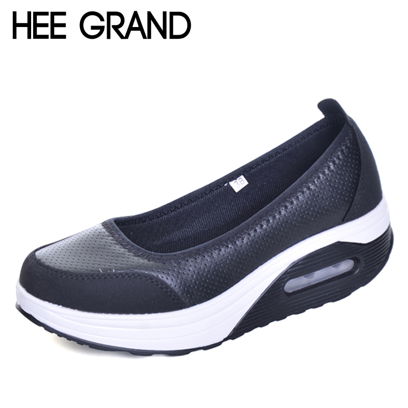 HEE GRAND Casual Creepers 2017 New Summer Platform Shoes Woman Slip On Comfortable Women Flats Shoes Size 35-41 XWC1115 phyanic gold silver wedges sandals 2017 new platform casual shoes woman summer buckle creepers bling flats shoes phy4040
