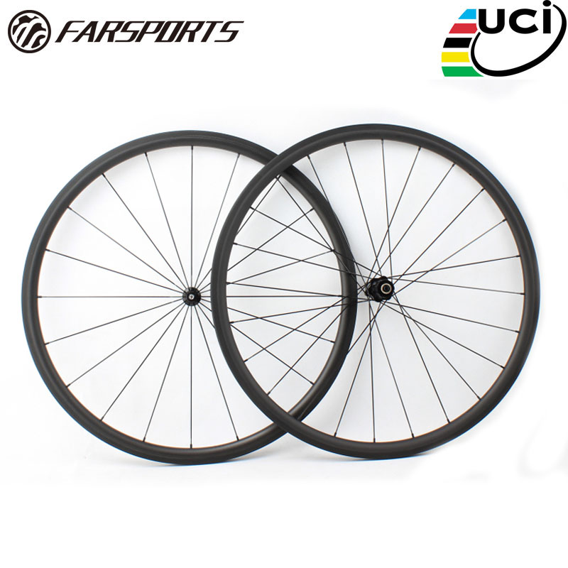 Tubeless Farsports FSC30-CM-23 DT350 hub 30mm 23mm 700c carbon road clincher wheels 30,30mm profile 23mm wide far sports wheels far sports carbon wheels 50mm clincher 23mm wide with novatec hub and sapim spokes novatec carbon wheels fsc50cm 23 700c