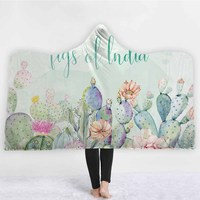 Lannidaa Tropical Cactus Blanket Winter Warm Adults Kids Hooded Blanket Wearable Wrapped Fleece Blankets For Travel Picnic Beds
