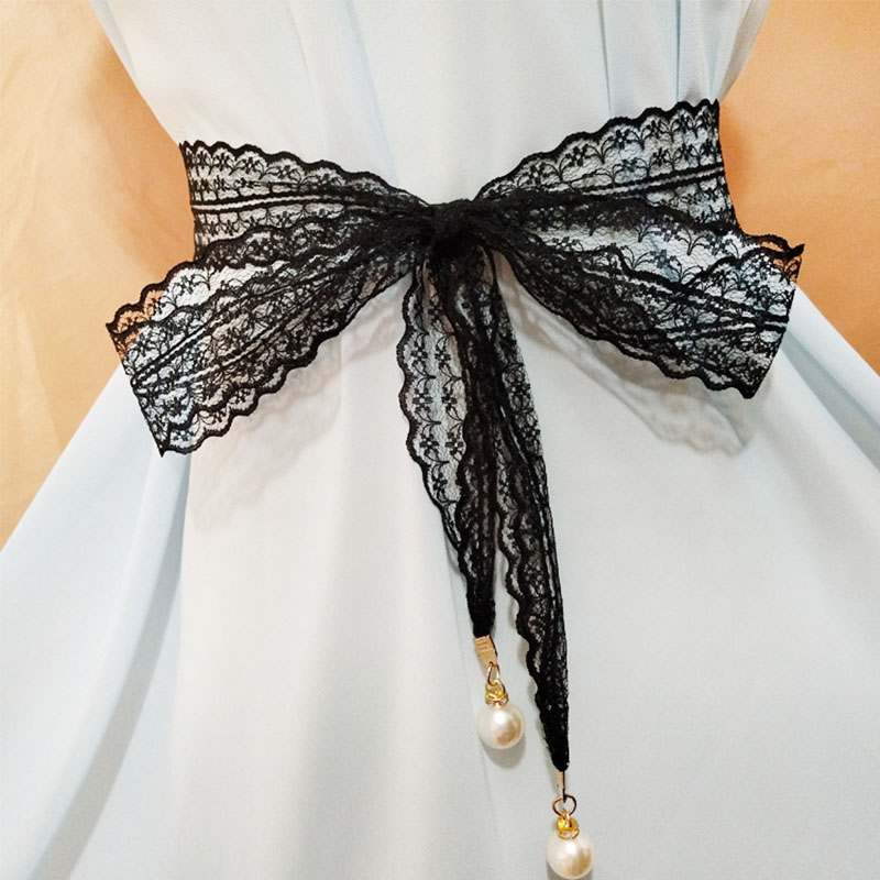 Fashion Wild Cotton Wide Waist Gauze Weaving Sen With Skirt Belt Korean Version Of The Wooden Buckle Decorative Belt