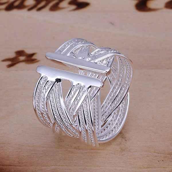 卸売925ジュエリーシルバーメッキリング婚約ウェディングブライダルファッションジュエリーリングビッグウェブ開環JZ-R024