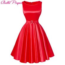 Belle Poque Jurken Women Dress Black Red Summer Audrey Hepburn 50s 60s Vintage Dresses Vestidos Big Size Rockabilly Party Dress